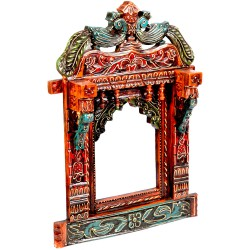 Colorful Rajasthani Jharokha with Peacock figure