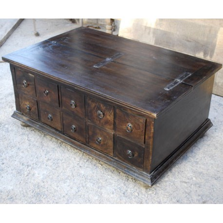 Contemporary Copper Handle Coffee Table