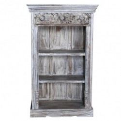Hand Carved Solid Wood Bookcase Whitewash