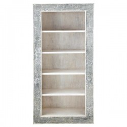 Contemporary Block Print White Bookshelf Large