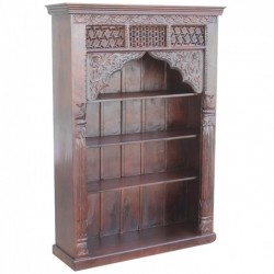 Hand Carved Mughal Solid Wood Large Bookcase