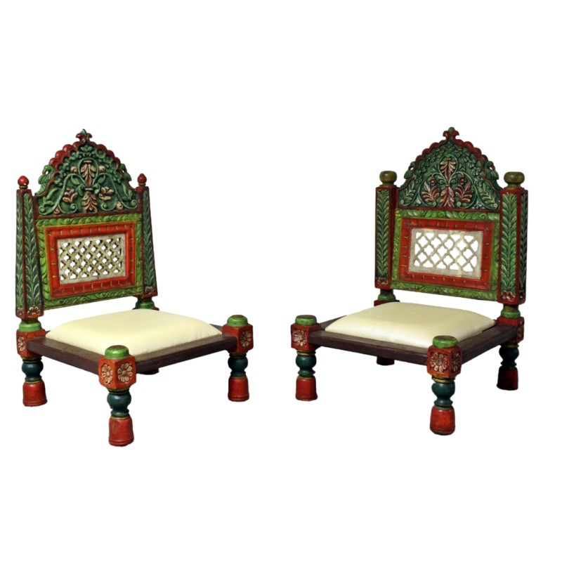Merveilleux Hand Painted Wooden Carved Low Chairs   Set Of 2