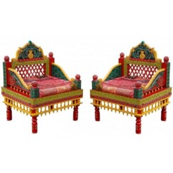 Indian Style Carved Rajasthani Chair Set (2 Pcs)
