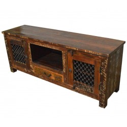 Reclaimed Wood Rustic Entertainment Center Cabinet with Iron Grill