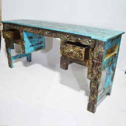 Indian Antique Panel Hand Carved Blue Hall Table Desk
