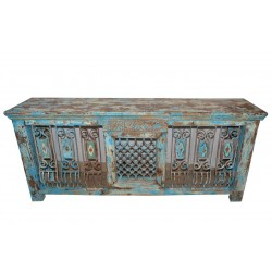 Antique Vintage Distressed Console Jali Table Hand Carved Buffet