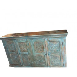 Antique Sideboard Distressed Wood Blue Carved Chakra Buffet Chest Console
