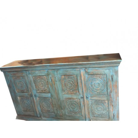 Antique Sideboard Distressed Wood Blue Carved Chakra Buffet Chest