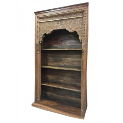 Antique Bookcase reclaimed Indian hand carved wood shelf