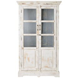 Distressed mango wood display case in white