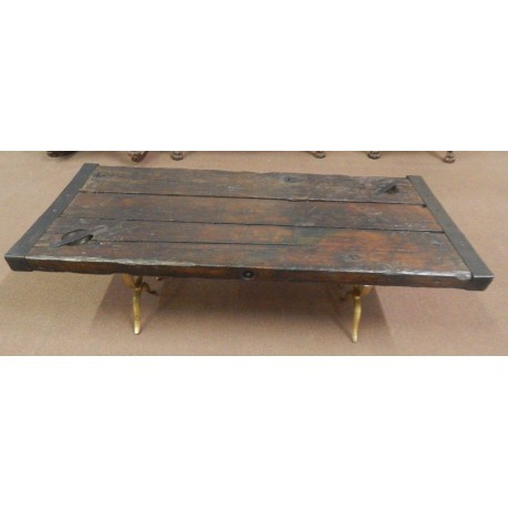 Antique ship hatch door coffee table with brass legs