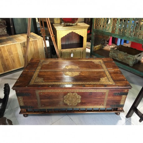 Sheesham Coffee Table/Trunk with Brass Overlay