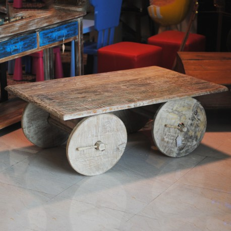 Solid Wood Distressed White Washed Coffee Table on Wheels