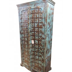 Antique Cabinet Blue Patina Storage Indian Armoire