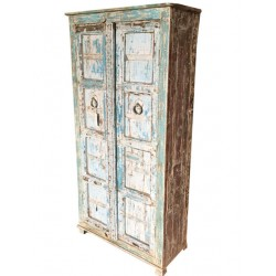 Reclaimed Vintage Cottage Blue Patina Storage Cabinet