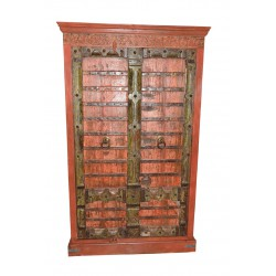 Antique Cabinet Gothic Doors Red Patina Armoire