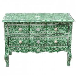 Emerald Green Bone Inlay Chest of Drawers