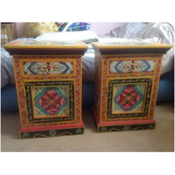 Pair Of Indian Hand Painted Bedside Tables