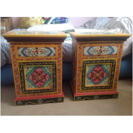 Indian Hand Painted Bedside Tables, Hand Painted Indian Bedside Cabinet