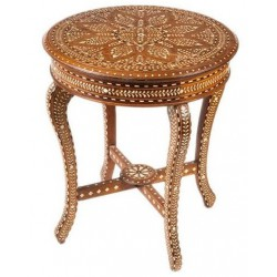 Indian Bone Inlaid Round Accent Table